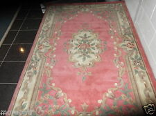 CHINESE  AUBUSSON, LARGE, NEW ZEALAND WOOL RUG...PINK...8' x 5'...FREE DELIVERY