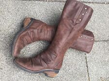 Clarks Brown Nubuck Leather Comfort Knee High Riding Boots 5 38