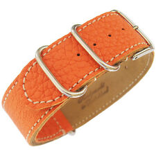22mm Fluco Germany 2-Piece Mens Orange Leather MoD G10 Military Watch Band Strap