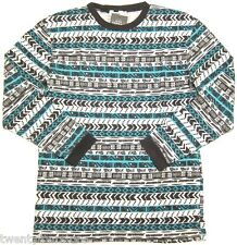 NWT $35 Topman by Topshop Oversized Aztec Print Long Sleeve T Shirt XXS