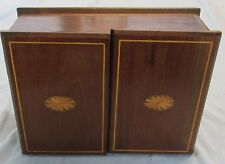 "VINTAGE WOOD INLAY PADDED SEWING BOX, 12"" x 9"" x 5.5""   USED - VG"