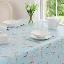 Square PVC Birds Tablecloth Duck Egg Blue Shabby Chic Small