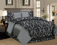 4 Piece Flock Damask Bedroom Complete Bedding Set Complete Duvet Bed Cover