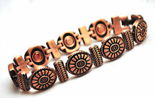 LADIES 7.25 INCH MAGNETIC THERAPY LINK BRACELET: Copper Sunflowers; Helps Pain!