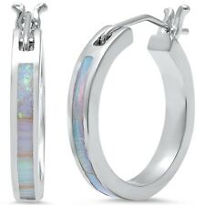 White Opal Hoop .925 Sterling Silver Earrings