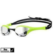 Arena Cobra Ultra Mirror Mirrored Swim Swimming Goggles SILVER GREEN WHITE NIP