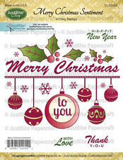 JUSTRITE CLING Rubber Stamps MERRY CHRISTMAS SENTIMENT CL-02054 With Love Thank