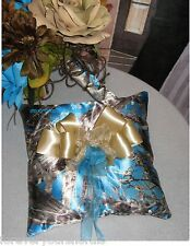 New True Timber® MC2 Cobalt Satin Ring Pillow, Custom Blue Camo Ring Pillow
