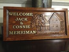 """11"""" x 23"""" Personalized Carved Wood Farm House Sign. Farm House or Welcome Sign"""