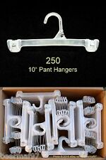 "250 Retail Store Pant & Skirt Clothes Hangers 10"" [25cm] Plastic Snap Lock"