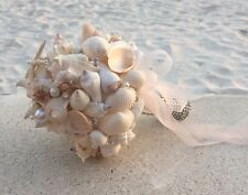 XO Bouquets Bride  Bouquet Sea Shells Bridesmaid  Beach Wedding 18 Inch Bouquet