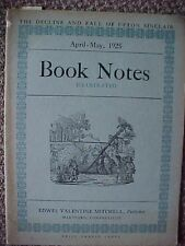 Book Notes, April-May 1925(Upton Sinclair,Rudyard Kipling,George Elliott,others)