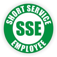 Short Service Employee Hard Hat Decal / Helmet Sticker Label SSE Temp OSHA