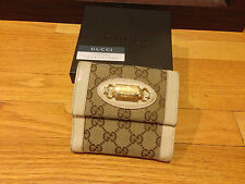 100% Authentic GUCCI White Beige/ Brown French Flap Wallet Classic GG