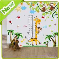 Giraffe Height Chart Wall Stickers Nursery Baby Jungle Animal Monkey Decor Decal