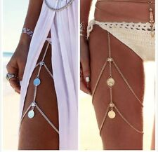 Gold Or Silver Coin Thigh Leg Harnesses Bikini Beach Body Chains