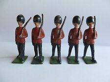 Vintage Johillco Lead Marching Toy Soldiers with Rifles x 5 (c.1930's)