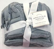 POTTERY BARN Quilted Velvet & Silk SMALL/MEDIUM Cosmetic Bags-PORCELAIN BLUE-NEW