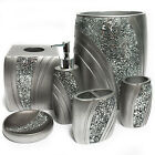 Hand Crafted Silver Finish/ Cracked Glass Bath Accessory Collection