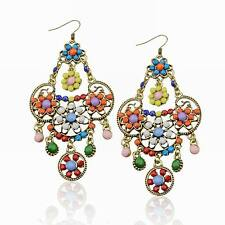 Bohemia Multi-Color Retro Copper Flower Acrylic Beads Fringe Cluster Earrings