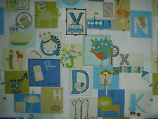 "HARLEQUIN CURTAIN FABRIC DESIGN ""Little Letters"" 6.3 METRES Emerald, Apple, Ocea"