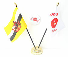Brunei & Tokyo Japan Olympics 2020 Desk Flags & 59mm BadgeSet