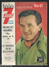►Télé 7 Jours N° 95 de 1962 ROGER COUDERC_FRANCOIS MAURIAC