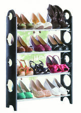 4 Tier Shelf Shoe Rack Organiser Stand Cupboard For 12 Pairs Shoes Easy Assembly