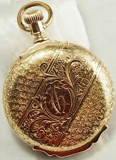 14k Waltham 13 jewel Grade Royal 1s Ornate Case Box Hinge Pocket Watch