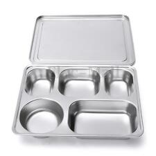 Eco lunchbox Stainless Steel Divided Lunch Food Serving Bento Box Tray & Cover