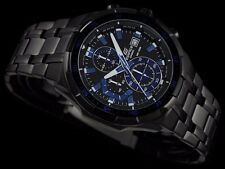 EFR-539BK-1A2 Black Blue Casio Edifice Men's Watches New Model 100M Steel Band