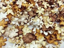 100 Mixed Brown Tone & White  Flowers mulberry paper for Craft & D.I.Y