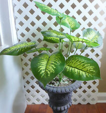 "12 Leaves Artificial Plants 15"" Tall Small Bush Tree"