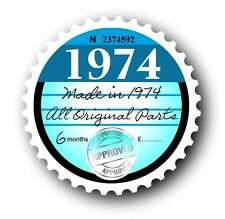 Retro 1974 Tax Disc Disk Replacement Vintage Novelty Licence Car sticker decal