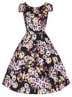 Elegant Black Tulip Floral 40's 50's Vtg Style Prom Party Tea Dress New 8 - 18