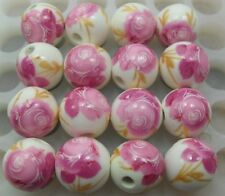 Free Shipping 20pcs Big pink flower Round Ceramic bead Spacer beads 12mm DF62