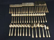 Rogers Cascade Gold-Plated Stainless Flatware 54-Piece Set for EIGHT