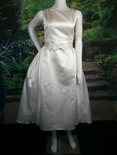 FANCY BRIDAL NY WEDDING GOWN DRESS 4-6 VINTAGE INSPIRED IVORY SHORT TEA POCKETS