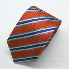 NWT $190 Battisti Napoli Tie Red Orange with Navy and Blue Stripes Made in Italy