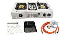 NEW GC-87 Gas Stove GRILL Cooker 3 burner Portable Camp Caravan LPG 9.7kW WOK