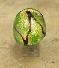 BOLD OVAL MURANO GLASS RING GREEN COLORED SPLATTER DESIGN RING SIZE 9 QVC
