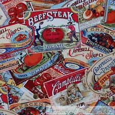 BonEful Fabric FQ Cotton Quilt Campbell's Soup Gold Label Kitchen Red Tomato VTG