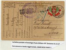 STORIA POSTALE 1917 REGNO CARTOLINA POST. MILITARE IN FRANCHIGIA Z/2678