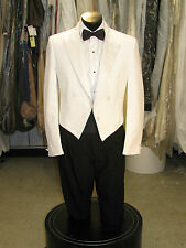 VINTAGE MENS WHITE PEAK ETON/SPENCER WAIST TUXEDO 4 BUTTONS 4PCS 42S