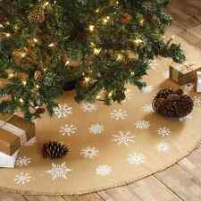 "BURLAP SNOWFLAKE MINI CHRISTMAS TREE SKIRT 21"" DIAMETER WHITE STENCIL SNOWFLAKES"