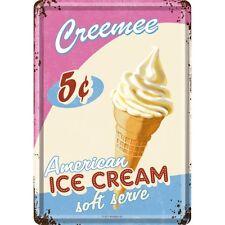 Americano Ghiaccio Cream Cartolina Metallo Targa Di Latta Metallo Stagno Card