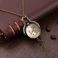 Antique Transparent Glass Ball Mechanical Pendant Pocket Necklace Watches LS