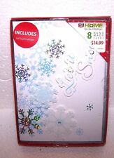 NEW Set 8 Hand Made Christmas Cards Envelopes Glitter Snowflakes Holiday Boxed