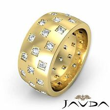 Round Diamond Men 9.4mm Eternity Wedding Band 14k Yellow Gold Unique Ring 1.35Ct