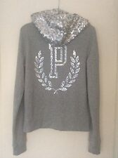Women's Victoria's Secret Pink grey sequin hoodie size small 6-8 uk